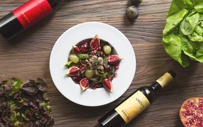 Ensalada de otoño con foie marinado en vinagre de Riesling