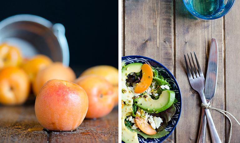 Ensalada con albaricoques, aguacate y pistachos