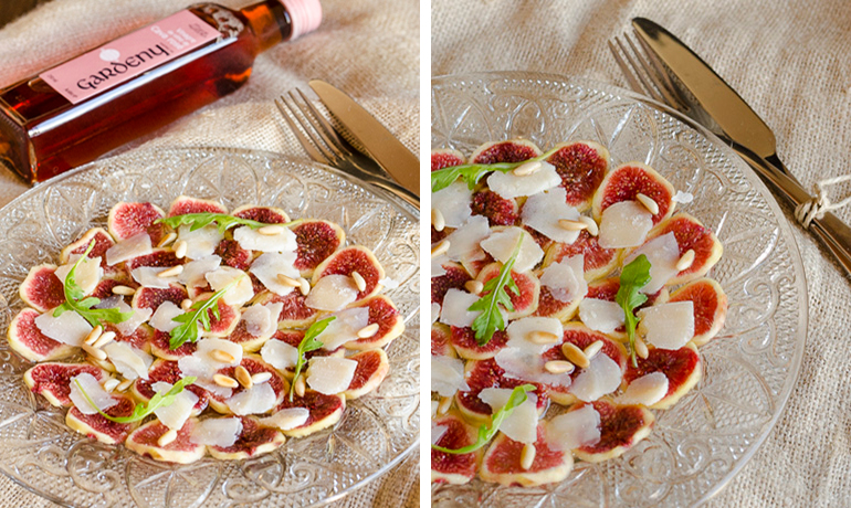 Parmesan and fig carpaccio with cava rosé vinaigrette