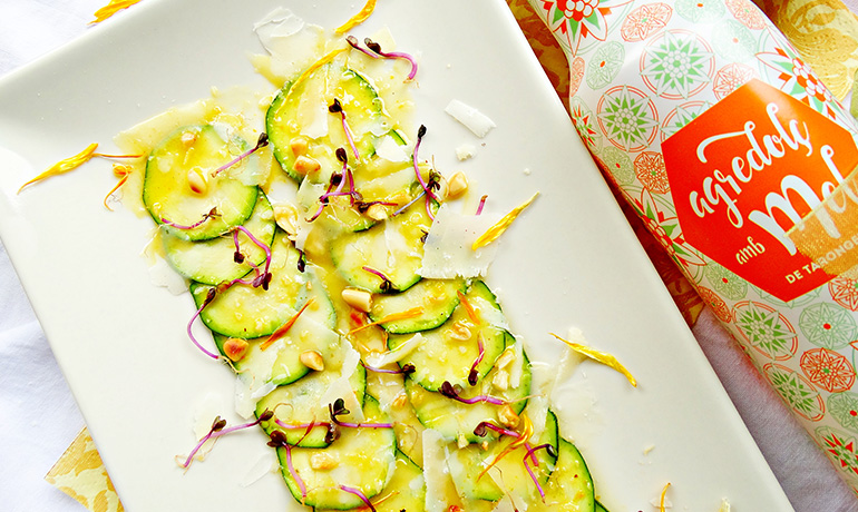 Courgette carpaccio with Parmesan and pine nuts