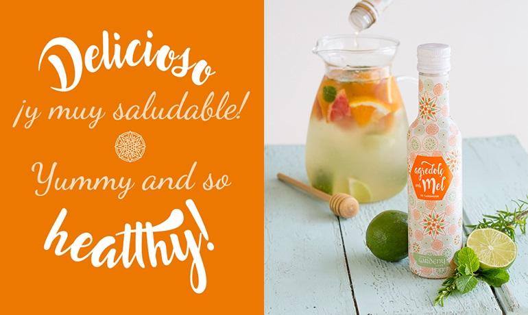 Bebida refrescante de frutas con agridulce de miel